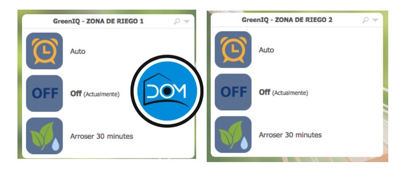 Widgets de GreenIQ en la interfaz de eedomus