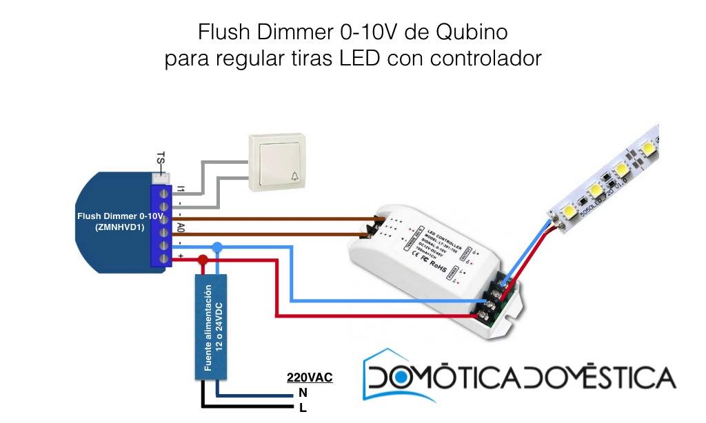 Flush Dimmer 0-10V - Regulación de tiras LED con controlador