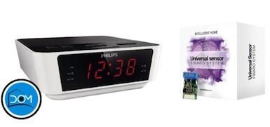 Reloj despertador domotizado con sensor universal de Fibaro