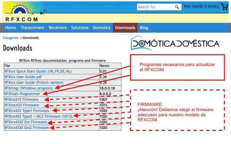 Actualización RFXCOM - Programas y firmware necesarios