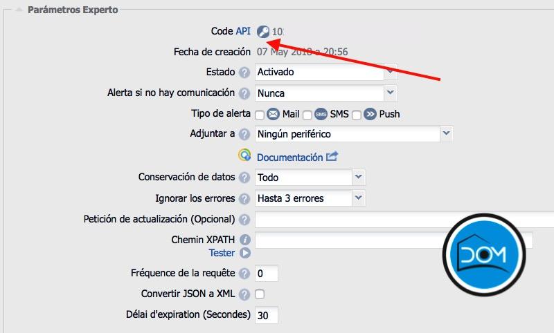 Sensor LoRa en eedomus - Código API Toggle