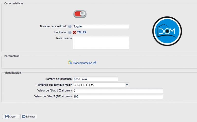 Sensor LoRa en eedomus - Periférico Toggle