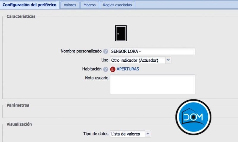 Sensor LoRa en eedomus - Ventana de configuración