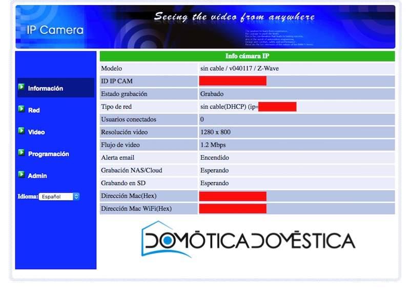 Interfaz web de la SwiidCam+